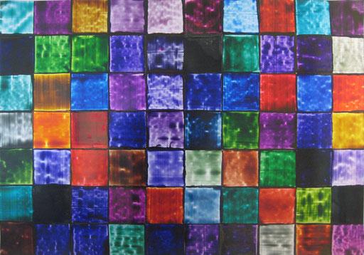 Zufallsfarbfelder 10x10 integral  Druckfarbe auf Aluminium
