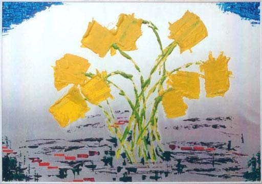 Nr.041  1994  Osterstrauß  Druckfarbe auf Aluminium  70 x 100 cm