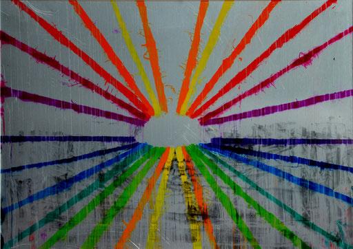 Nr. 192 ohne Titel 2014  Druckfarbe auf Aluminium  21 x 29,7 cm