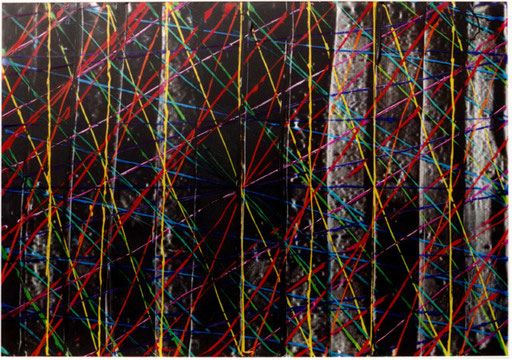 Nr.103  2001  'Gerade Linien Zwölffarbig  Druckfarbe auf Aluminium  70 x 100 cm