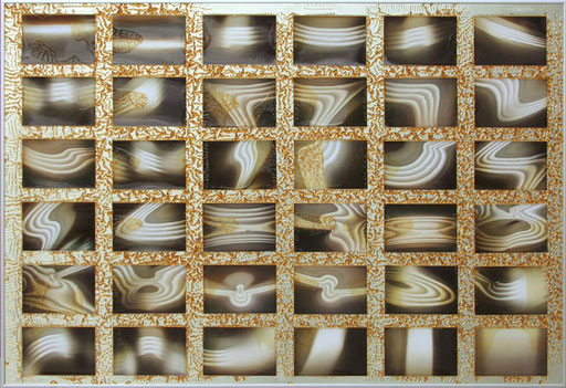 Nr.148  2008  Atelierbeleuchtung  Collage aus Fotos und Drucklack auf Aluminium  70 x 100 cm