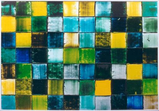 Green Squares  printing ink on aluminium
