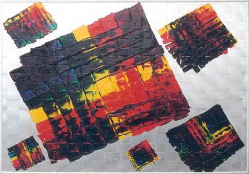 "Nr.055  1995  ""Het Gevlocht""  Druckfarbe auf Aluminiumstreifen  70 x 100 cm"