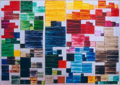 Nr.50  1994  Inventur im Pantone Farbregal von HMB 31.12.93  Druckfarbe auf Aluminium  100 x 140 cm