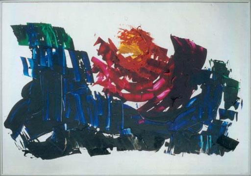 Nr.002  1988  ohne Titel  Druckfarbe auf Aluminium  70 x 100 cm