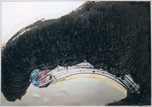 Nr.030  1993  Nothing left of Me  Druckfarbe auf Aluminium  70 x 100 cm