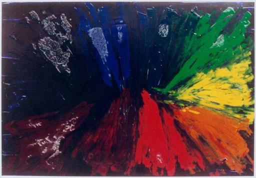 Nr.064  1996  You and Me komplementär  Druckfarbe auf Aluminium  70 x 100 cm