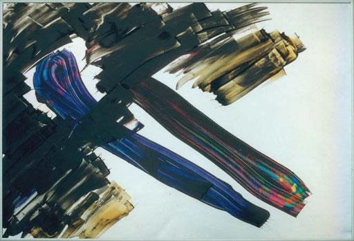 "Nr.008  1990   ""Jetzt sag doch mal was dazu""  Druckfarbe auf Aluminium  70 x 100 cm"