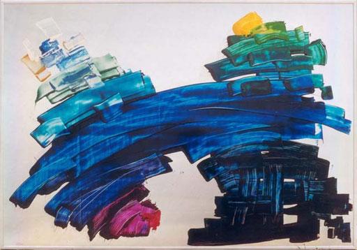 Nr.007  1990  Blau  Druckfarbe auf Aluminium  70 x 100 cm