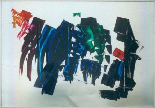 Nr.001  1988  ohne Titel  Druckfarbe auf Aluminium  70 x 100 cm