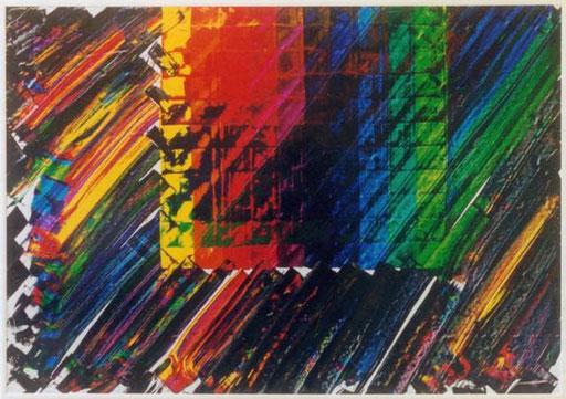 Nr.042  1994  Etüde  Druckfarbe auf Aluminium  70 x 100 cm