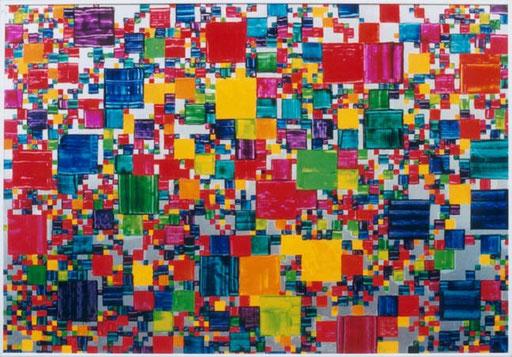 Nr.026  1993  Looking for a Pattern  Druckfarbe auf Aluminium  70 x 100 cm