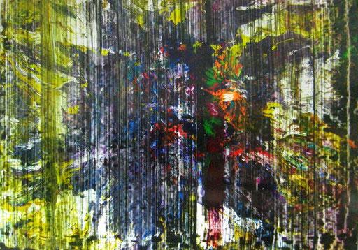 Nr.166  2011  ohne Titel  Druckfarbe auf Aluminium  70 x 100 cm