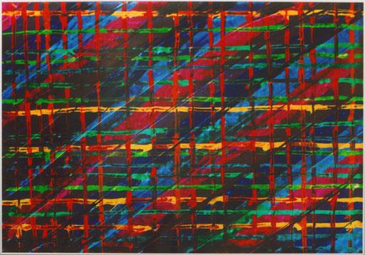 Nr.111  2003  'Ohne Titel 12-farbig, abgespachtelt  Druckfarbe auf Aluminium  70 x 100 cm