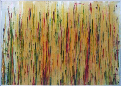 """Nr.096  2001  'Variation von """"Osterstrauss II""""  Druckfarbe auf Aluminium  70 x 100 cm"""