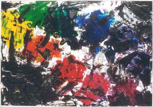 Nr.077  1999  Von Schwarz bedrängt  Druckfarbe auf Aluminium  70 x 100 cm