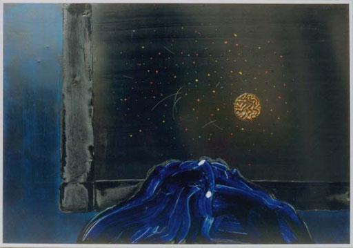 Nr.048  1994  Crying onto my Dandruff  Druckfarbe auf Aluminium  70 x 100 cm