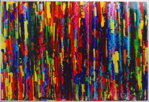Nr.099  Partitur  Druckfarbe auf Aluminium  70 x 100 cm
