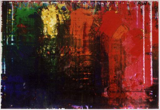 Nr.110  2002  'Ohne Titel 12-farbig, abgerakelt, unregelmäßig  Druckfarbe auf Aluminium  70 x 100 cm