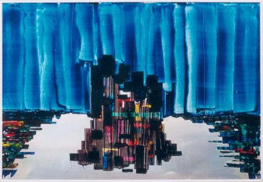 Nr.009  1990  New York City  Druckfarbe auf Aluminium  100 x 70 cm