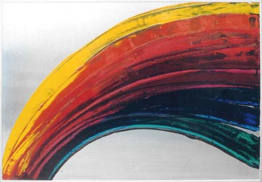 Nr.011  1991  Polluted Rainbow  Druckfarbe auf Aluminium  70 x 100 cm