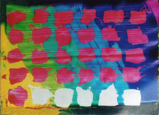 Nr.079  1999  Silberhochzeit  Druckfarbe auf Aluminium  10,5 x 14,8 cm