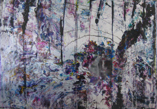 Nr. 164  2011  Materialkomplement zu Nr. 163  Druckfarbe auf Aluminium  70 x 100 cm