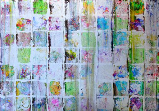 Nr. 172 Blumenbeet  2012 Druckfarbe auf Aluminium 70 x 100 cm