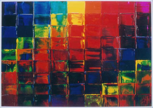 Nr.057  1995  Am ersten freien Tag nach 16 Wochen ununterbrochener Arbeit  Druckfarbe auf Aluminium  70 x 100 cm