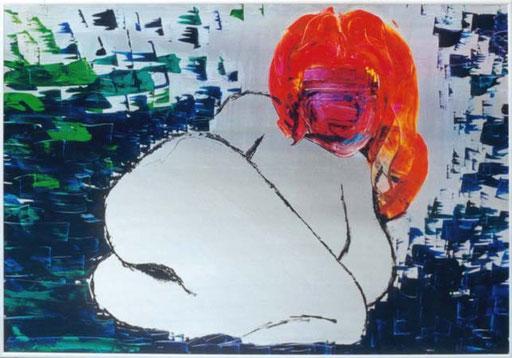 Nr.017  1992  I Want You  Druckfarbe auf Aluminium  70 x 100 cm