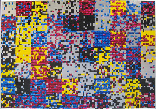 Nr. 157  2009  Zufallsfarbfelder 10x10 in CMYK  Druckfarbe auf Aluminium  70 x 100 cm