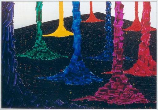 Nr.033  1993  Farbzapfanlage  Druckfarbe auf Aluminium  70 x 100 cm