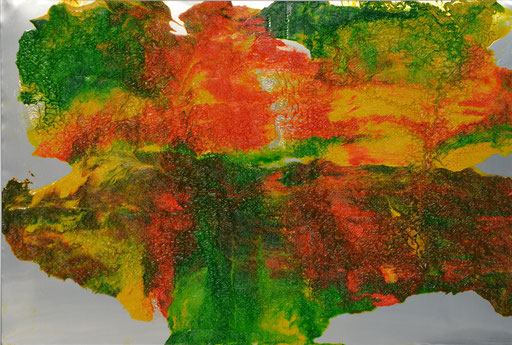 Nr. 203 Easter-Buquet X Printing ink on aluminium 70 x 100 cm