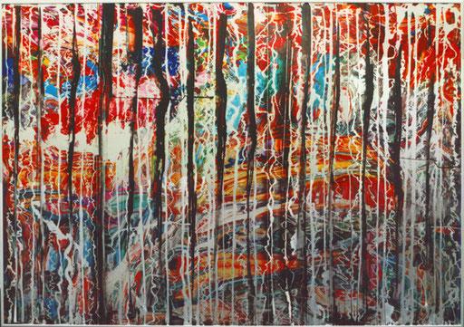 Nr.115  2003  'Materialkomplement zu Nr.114  Druckfarbe auf Aluminium  70 x 100 cm
