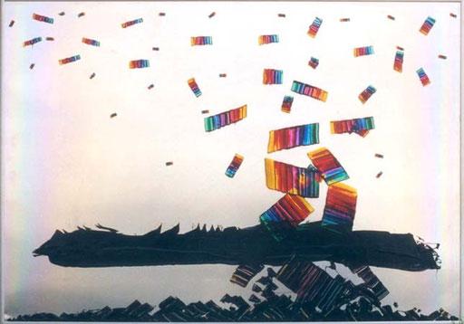 Nr.012  1991  Pollution  Druckfarbe auf Aluminium  70 x 100 cm