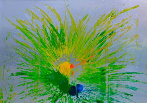 Nr. 174 Osterstrauß VII 2013 Druckfarbe auf Aluminium 70 x 100 cm