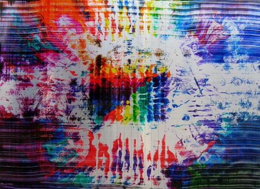 Nr.165 2011  für Mathis zum 30. Geburtstag  Druckfarbe auf Aluminium  30 x 40 cm