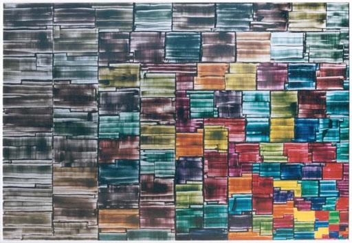 Nr.032  1993  Petering Out  Druckfarbe auf Aluminium  70 x 100 cm