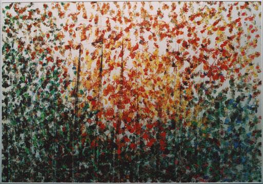 Nr.113  2003  ohne Titel  getupft von Palette und abgespachtelt  Druckfarbe auf Aluminium  70 x 100 cm