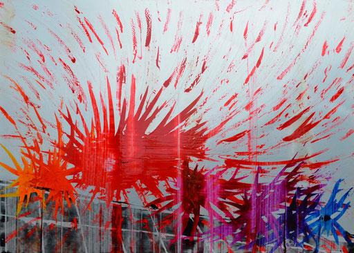 Nr. 176 ohne Titel 2013 Druckfarbe auf Aluminium 100 x 140 cm