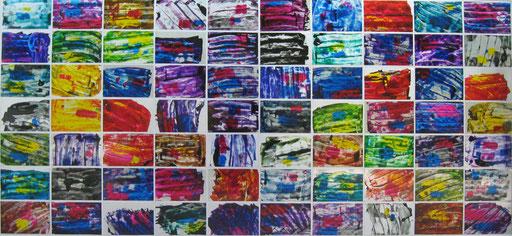 Nr. 168  2011  Zufallsfarbfelder in Clips  Druckfarbe auf Aluminium  70 x 150 cm