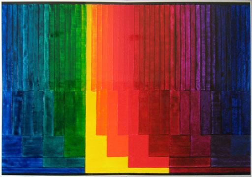 Nr. 153  2009  Subtraktive Farbmischung  Druckfarbe auf Aluminium  70 x 100 cm