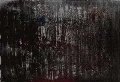 Nr.075  1998  Selbstportrait  Zeichnung gekratzt in Druckfarbe auf Stanzstahlblech  76 x 104 cm