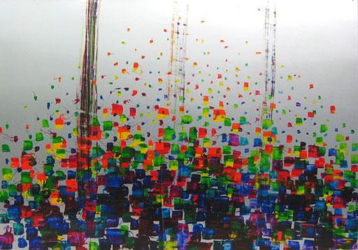 Nr.159  2010  Osterstrauß V  Druckfarbe auf Aluminium  70 x 100