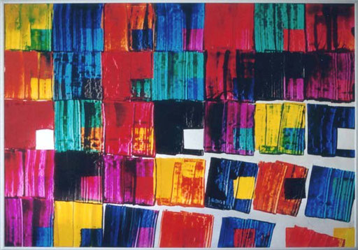 Nr.010  1991  Große Kästchen  Druckfarbe auf Aluminium  70 x 100 cm