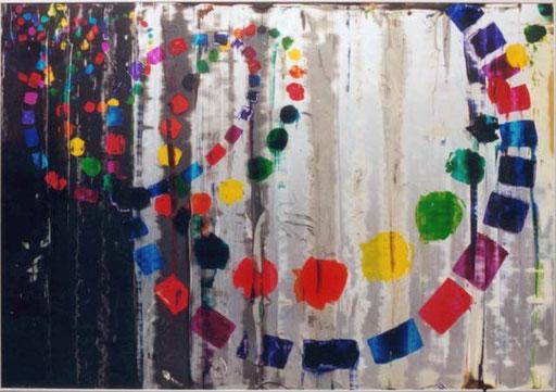Nr.078  1999  Unser Leben  Druckfarbe auf Aluminium  70 x 100 cm