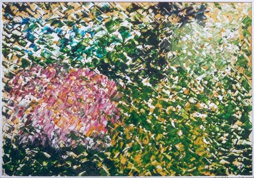 Nr.071  1998  Blick in den Garten  Druckfarbe auf Aluminium  70 x 100 cm