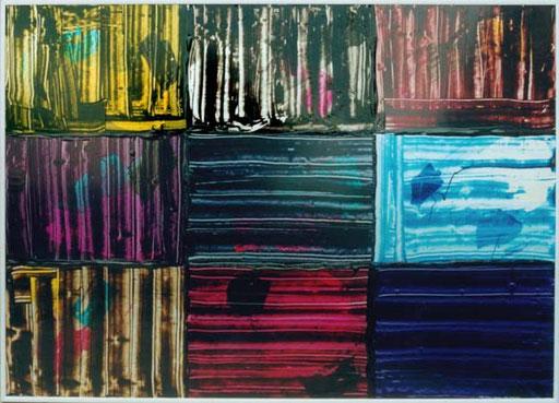 Nr.013  1992  Pantone Violet & al.  Druckfarbe auf Aluminium  70x 100 cm