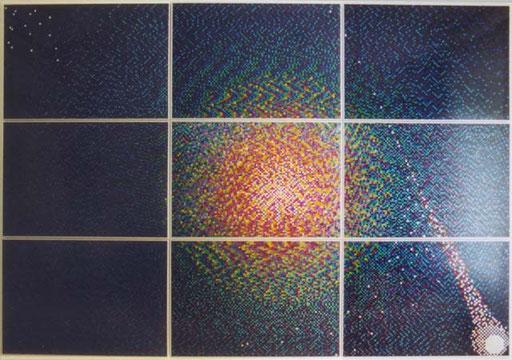 "Nr.091  2001  Homage to John Updike's ""Rabbit""-Tetralogy  Druckfarbe auf Aluminium  210 x 300 cm"