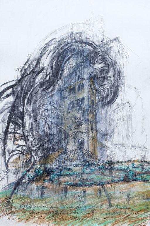 St. Martin von Chapaize Saòne et Loire über die Landschaft von Burgund über den Philosophen Andreas S. | 2014 | 70 x 50 cm